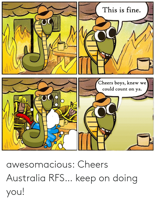 Count: This is fine.  Cheers boys, knew we  could count on ya. awesomacious:  Cheers Australia RFS… keep on doing you!