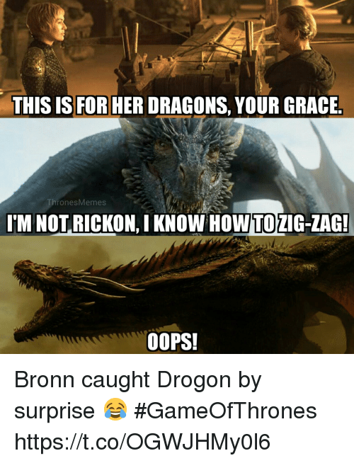 Rickon: THIS IS FOR HER DRAGONS, YOUR GRACE  ThronesMemes  I'M NOT RICKON, I KNOW  HOWTO  ZIG-ZAG  OOPS! Bronn caught Drogon by surprise 😂 #GameOfThrones https://t.co/OGWJHMy0l6