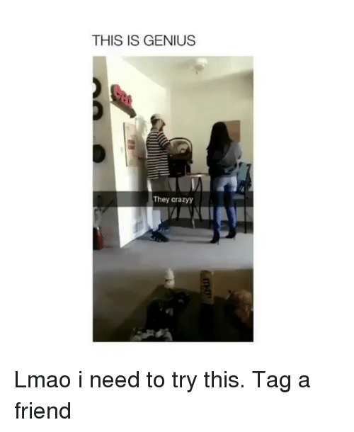 Lmao, Memes, and Genius: THIS IS GENIUS  They crazyy Lmao i need to try this. Tag a friend