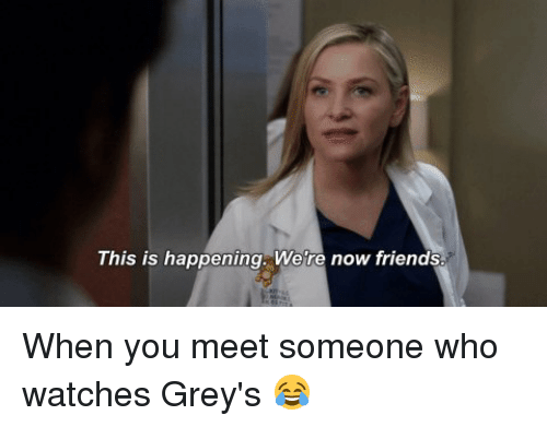 Friends, Memes, and Watches: This is happening. We're now friends. When you meet someone who watches Grey's 😂