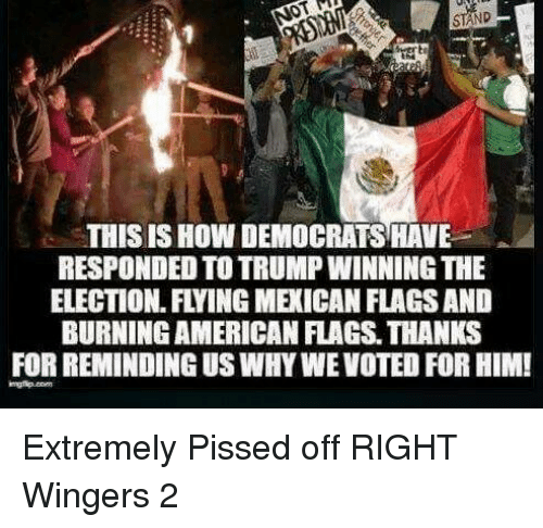 Trump Winning: THIS IS HOW DEMOCRATS HAVE  RESPONDED TO TRUMP WINNING THE  ELECTION FLYING MEXICAN FLAGSAND  BURNINGAMERICAN FLAGS. THANKS  FOR REMINDING USWHYWEVOTED FOR HIM! Extremely Pissed off RIGHT Wingers 2