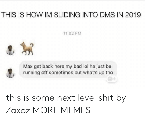 sliding: THIS IS HOW IM SLIDING INTO DMS IN 2019  11:02 PM  Max get back here my bad lol he just be  running off sometimes but what's up tho this is some next level shit by Zaxoz MORE MEMES