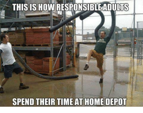 Memes, Home, and Home Depot: THIS IS HOW RESRONSIBLEADULTS  SPEND THEIR TIME AT HOME DEPOT