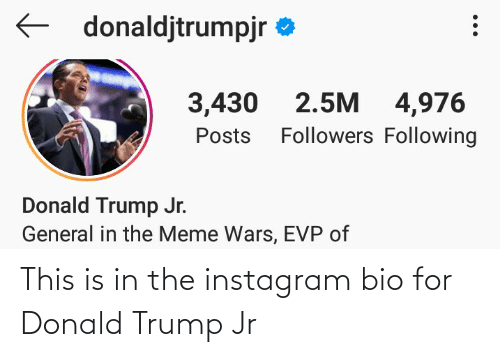 donald trump jr: This is in the instagram bio for Donald Trump Jr
