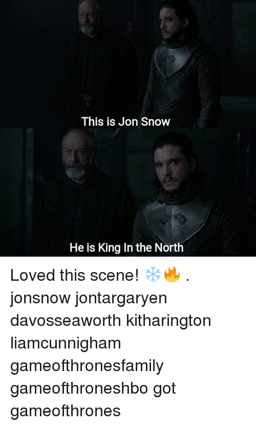 Memes, Jon Snow, and Snow: This is Jon Snow  He is King In the North Loved this scene! ❄🔥 . jonsnow jontargaryen davosseaworth kitharington liamcunnigham gameofthronesfamily gameofthroneshbo got gameofthrones