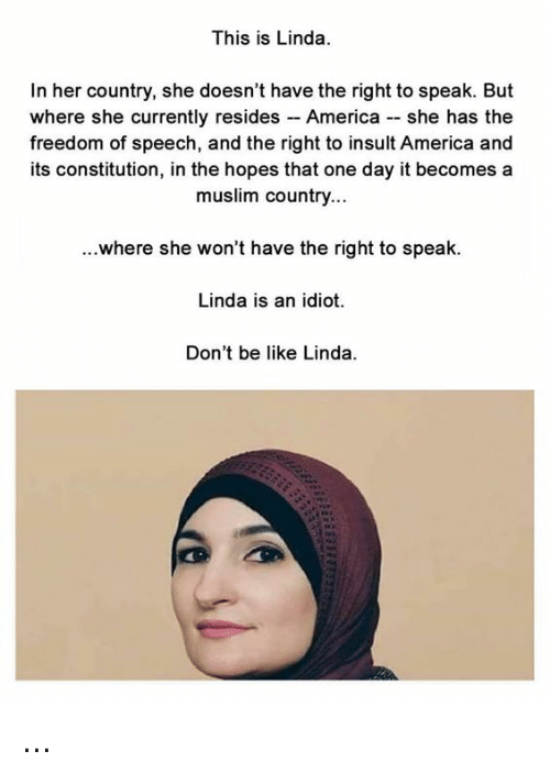 Insulter: This is Linda  In her country, she doesn't have the right to speak. But  where she currently resides - America - she has the  freedom of speech, and the right to insult America and  its constitution, in the hopes that one day it becomes a  muslim country...  ...where she won't have the right to speak.  Linda is an idiot.  Don't be like Linda ...