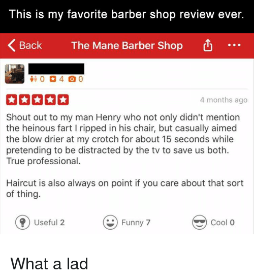Barber Shop: This is my favorite barber shop review ever.  Back  The Mane Barber Shop  4 months ago  Shout out to my man Henry who not only didn't mention  the heinous fart I ripped in his chair, but casually aimed  the blow drier at my crotch for about 15 seconds while  pretending to be distracted by the tv to save us both.  True professional.  Haircut is also always on point if you care about that sort  of thing.  0 Useful 2  Funny 7  Cool O What a lad