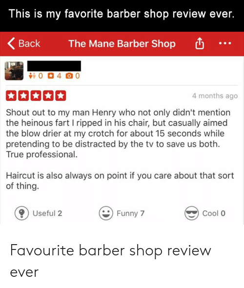 Barber Shop: This is my favorite barber shop review ever.  Back  The Mane Barber Shop  4 months ago  Shout out to my man Henry who not only didn't mention  the heinous fart I ripped in his chair, but casually aimed  the blow drier at my crotch for about 15 seconds while  pretending to be distracted by the tv to save us both.  True professional.  Haircut is also always on point if you care about that sort  of thing.  0 Useful 2  Funny 7  Cool O Favourite barber shop review ever