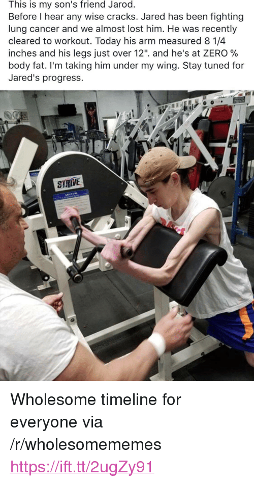 """Zero, Lost, and Cancer: This is my son's friend Jarod  Before l hear any wise cracks. Jared has been fighting  lung cancer and we almost lost him. He was recently  cleared to workout. Today his arm measured 8 1/4  inches and his legs Just over 12"""". and he's at ZERO %  body fat. I'm taking him under my wing. 3tay tuned for  Jared's progress. <p>Wholesome timeline for everyone via /r/wholesomememes <a href=""""https://ift.tt/2ugZy91"""">https://ift.tt/2ugZy91</a></p>"""