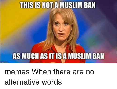 Ban Meme: THIS IS NOT A MUSLIM BAN  AS MUCH ASITISAMUSLIM BAN memes When there are no alternative words