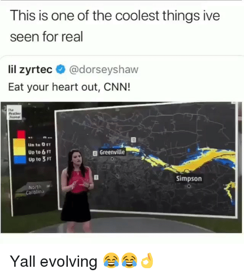 cnn.com, Funny, and Heart: This is one of the coolest things ive  seen for real  lil zyrtec @dorseyshaw  Eat your heart out, CNN!  The  Weather  Up to 6 FT  Up to 3 FT  a Greenville  Simpson  North  arolina Yall evolving 😂😂👌
