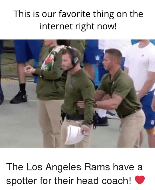 Los Angeles Rams: This is our favorite thing on the  internet right now! The Los Angeles Rams have a spotter for their head coach! ❤️