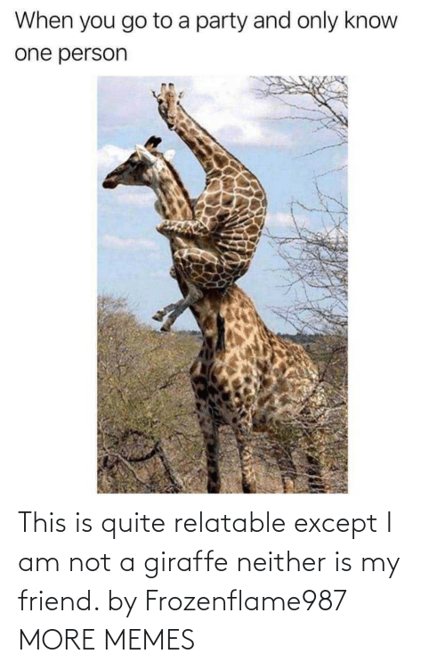 Giraffe: This is quite relatable except I am not a giraffe neither is my friend. by Frozenflame987 MORE MEMES