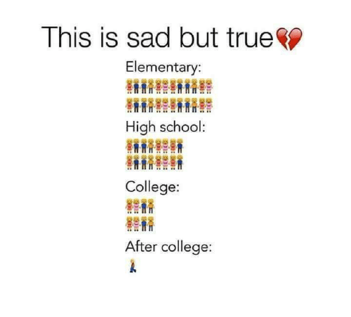 College High School: This Is Sad But True Elementary High School College After