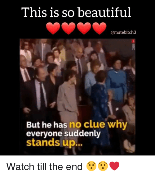 Beautiful, Memes, and Watch: This is so beautiful  @mutebitch3  But he has no clue why  everyone suddenly  stands up... Watch till the end 😯😯❤