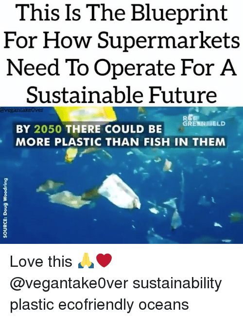 blueprints: This Is The Blueprint  For How Supermarkets  Need To Operate For A  Sustainable Future  avegantakeover  GRE NEELD  BY 2050 THERE COULD BE  MORE PLASTIC THAN FISH IN THEM Love this 🙏❤️ @vegantake0ver sustainability plastic ecofriendly oceans