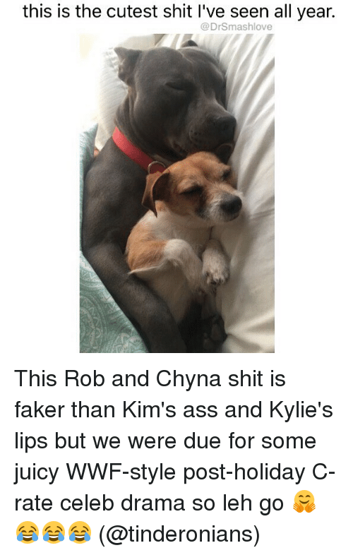 wwf: this is the cutest shit I've seen all year.  @DrSmashlove This Rob and Chyna shit is faker than Kim's ass and Kylie's lips but we were due for some juicy WWF-style post-holiday C-rate celeb drama so leh go 🤗😂😂😂 (@tinderonians)