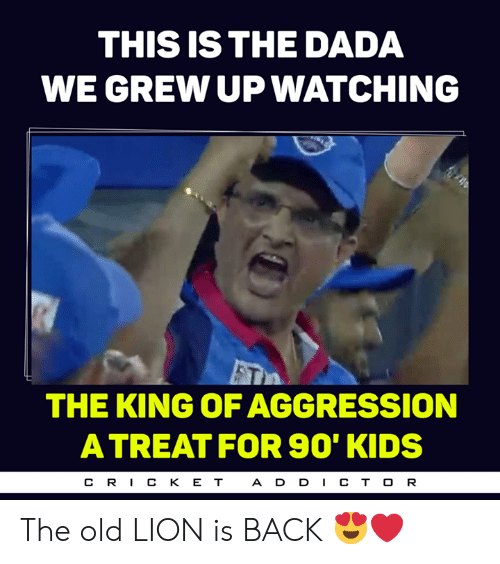 Dada: THIS IS THE DADA  WE GREW UP WATCHING  THE KING OF AGGRESSION  A TREAT FOR S90' KIDS  CR丨CKET  A D D CT O R The old LION is BACK 😍❤️