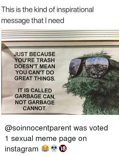 Youre Trash: This is the kind of inspirational  message that I need  JUST BECAUSE  YOU'RE TRASH  DOESN'T MEAN  YOU CAN'T DO  GREAT THINGS  IT IS CALLED  GARBAGE CAN,  NOT GARBAGE  CANNOT @soinnocentparent was voted 1 sexual meme page on instagram 😂💀🔞