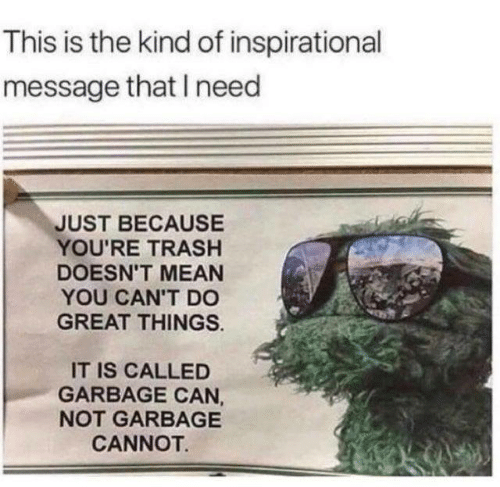 garbage can: This is the kind of inspirational  message that I need  JUST BECAUSE  YOU'RE TRASH  DOESN'T MEAN  YOU CAN'T DO  GREAT THINGS  IT IS CALLED  GARBAGE CAN,  NOT GARBAGE  CANNOT.