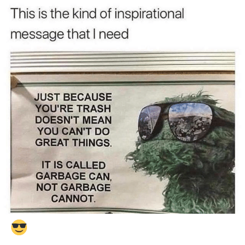 Youre Trash: This is the kind of inspirational  message that need  JUST BECAUSE  YOU'RE TRASH  DOESN'T MEAN  YOU CAN'T DO  GREAT THINGS  IT IS CALLED  GARBAGE CAN,  NOT GARBAGE  CANNOT  😎