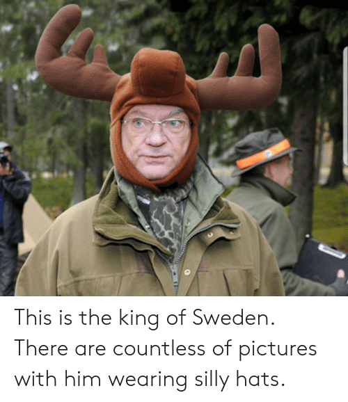 Pictures, Sweden, and King: This is the king of Sweden. There are countless of pictures with him wearing silly hats.