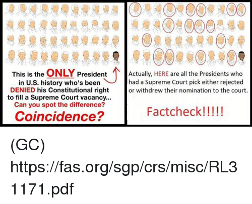vacancy: This is the  ONLY  President  Actually,  HERE are all the Presidents who  in U.S. history who's been had a Supreme Court pick either rejected  DENIED his Constitutional right  or withdrew their nomination to the court.  to fill a Supreme Court vacancy...  Can you spot the difference?  Fact check!  Coincidence? (GC) https://fas.org/sgp/crs/misc/RL31171.pdf