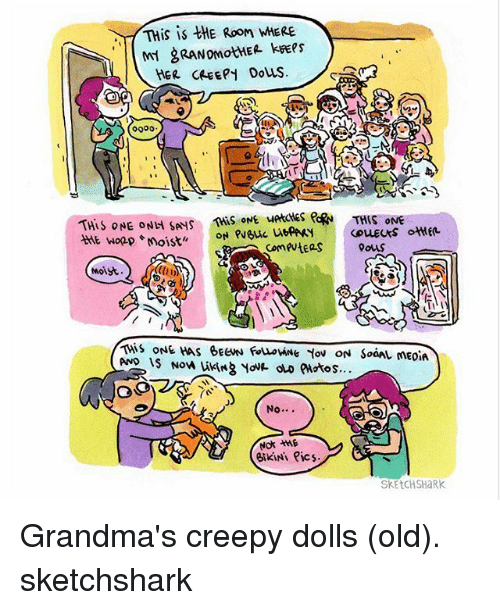 Creepy, Memes, and Shark: THis is thE Room MERE  HER CAEEpy Douss  0000  THIS ONE ONH SANS  ONE edRN THIS ONE  comeutEas  Moist  ONE HAS BECNN  No  Not *ME  eikiNi Pics.  SKETCH SHaRK Grandma's creepy dolls (old). sketchshark