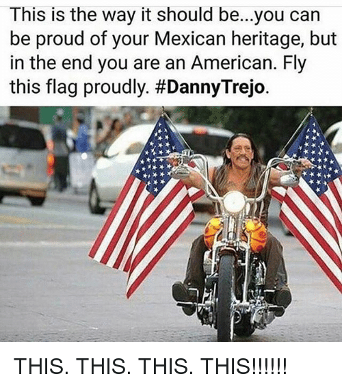 Memes, American, and Mexican: This is the way it should be...you can  be proud of your Mexican heritage, but  in the end you are an American. Fly  this flag proudly. THIS. THIS. THIS. THIS!!!!!!