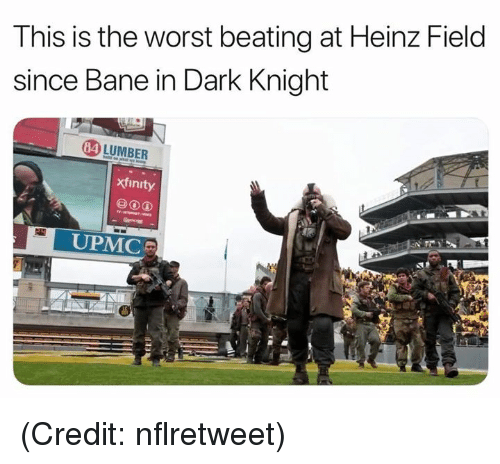 Xfinity: This is the worst beating at Heinz Field  since Bane in Dark Knight  4 LUMBER  xfinity  UPMC (Credit: nflretweet)