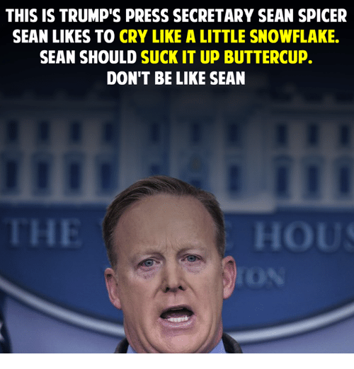 Memes, Don't Be Like, and 🤖: THIS IS TRUMP'S PRESS SECRETARY SEAN SPICER  SEAN LIKES TO CRY LIKE A LITTLE SNOWFLAKE.  SEAN SHOULD SUCK IT UP BUTTERCUP.  DON'T BE LIKE SEAN