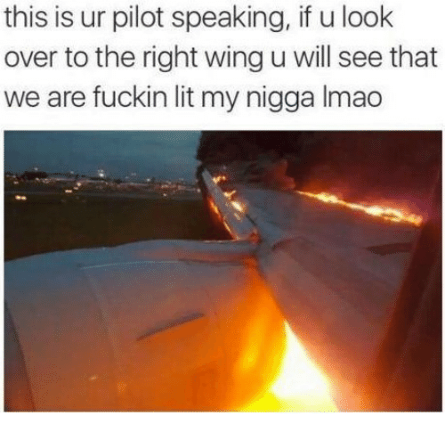 Lit, My Nigga, and Will: this is ur pilot speaking, if u look  over to the right wing u will see that  we are fuckin lit my nigga Imao
