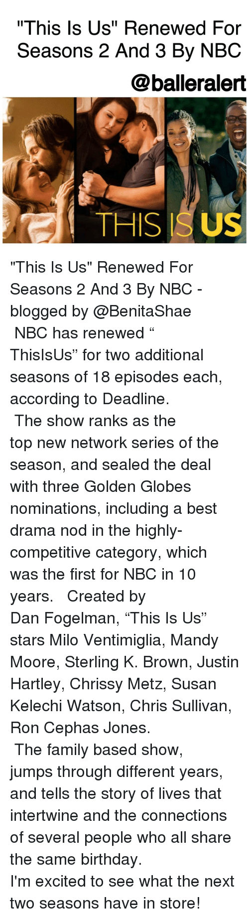 "Golden Globes, Memes, and Seal: ""This Is Us"" Renewed For  Seasons 2 And 3 By NBC  @balleralert  THIS ISUS ""This Is Us"" Renewed For Seasons 2 And 3 By NBC -blogged by @BenitaShae ⠀⠀⠀⠀⠀⠀⠀⠀⠀ ⠀⠀⠀⠀⠀⠀⠀⠀⠀ NBC has renewed "" ThisIsUs"" for two additional seasons of 18 episodes each, according to Deadline. ⠀⠀⠀⠀⠀⠀⠀⠀⠀ ⠀⠀⠀⠀⠀⠀⠀⠀⠀ The show ranks as the top new network series of the season, and sealed the deal with three Golden Globes nominations, including a best drama nod in the highly-competitive category, which was the first for NBC in 10 years. ⠀⠀⠀⠀⠀⠀⠀⠀⠀ ⠀⠀⠀⠀⠀⠀⠀⠀⠀ Created by Dan Fogelman, ""This Is Us"" stars Milo Ventimiglia, Mandy Moore, Sterling K. Brown, Justin Hartley, Chrissy Metz, Susan Kelechi Watson, Chris Sullivan, Ron Cephas Jones. ⠀⠀⠀⠀⠀⠀⠀⠀⠀ ⠀⠀⠀⠀⠀⠀⠀⠀⠀ The family based show, jumps through different years, and tells the story of lives that intertwine and the connections of several people who all share the same birthday. ⠀⠀⠀⠀⠀⠀⠀⠀⠀ ⠀⠀⠀⠀⠀⠀⠀⠀⠀ I'm excited to see what the next two seasons have in store!"