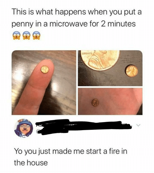 start a: This is what happens when you put a  penny in a microwave for 2 minutes  AERT  Yo you just made me start a fire in  the house