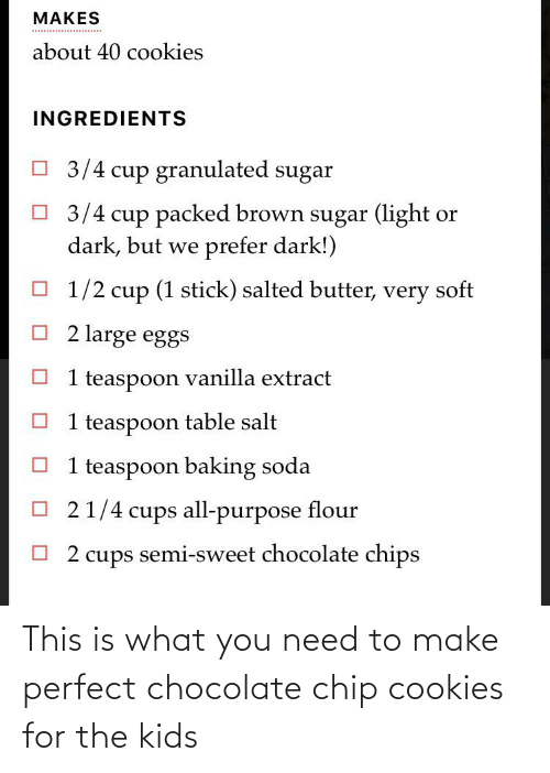 chocolate chip cookies: This is what you need to make perfect chocolate chip cookies for the kids