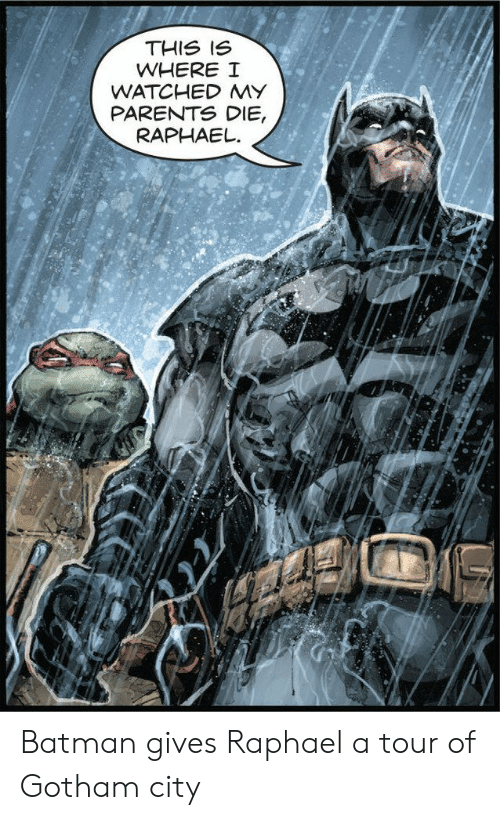 This Is Where: THIS IS  WHERE I  WATCHED MY  PARENTS DIE,  RAPHAEL Batman gives Raphael a tour of Gotham city