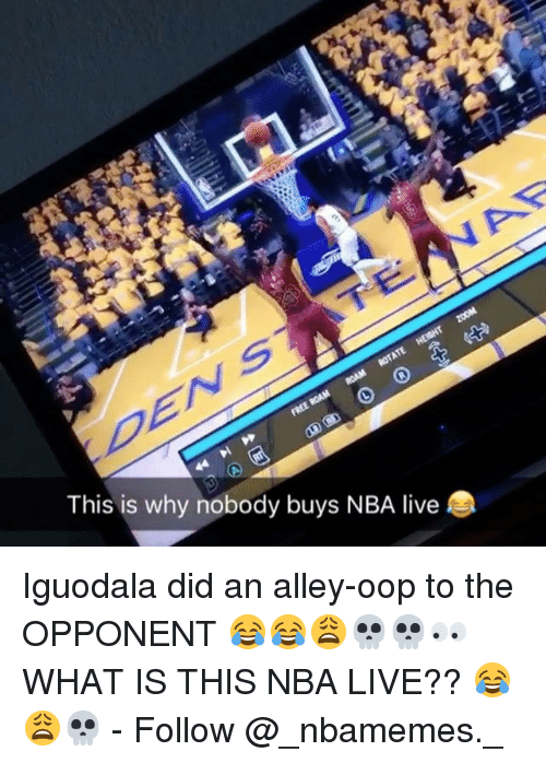 iguodala: This is why nobody buys NBA live Iguodala did an alley-oop to the OPPONENT 😂😂😩💀💀👀 WHAT IS THIS NBA LIVE?? 😂😩💀 - Follow @_nbamemes._