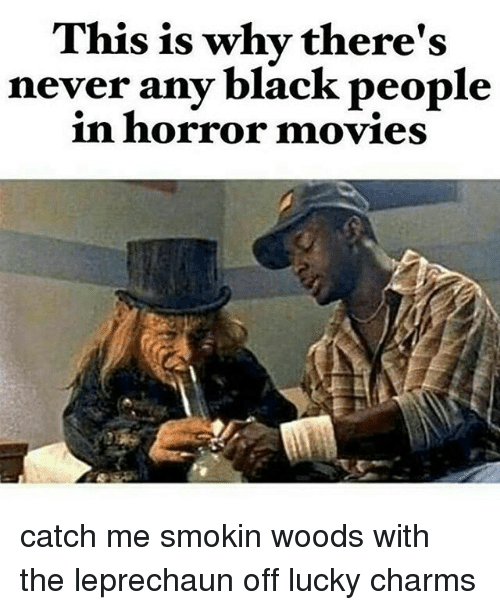 Memes, Movies, and Black: This is why there's  never any black people  in horror movies catch me smokin woods with the leprechaun off lucky charms