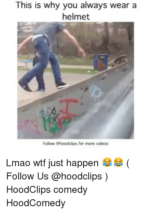 helmet: This is why you always wear a  helmet  Follow @hoodclips for more videos Lmao wtf just happen 😂😂 ( Follow Us @hoodclips ) HoodClips comedy HoodComedy