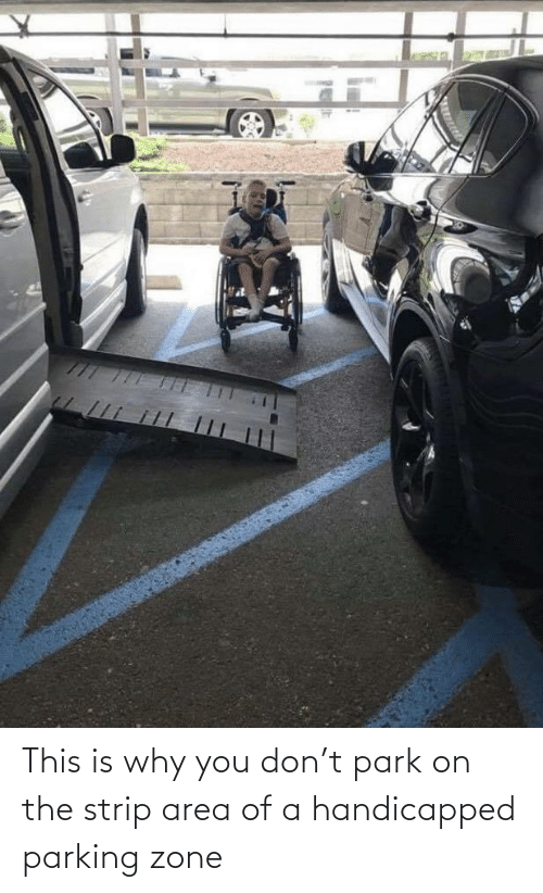 Area: This is why you don't park on the strip area of a handicapped parking zone