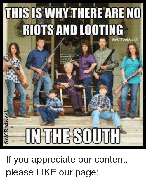 memes: THIS IS WHYTHERE ARE NO  RIOTS AND LOOTING  eNCRed Neck  IN THE SOUTH If you appreciate our content, please LIKE our page: