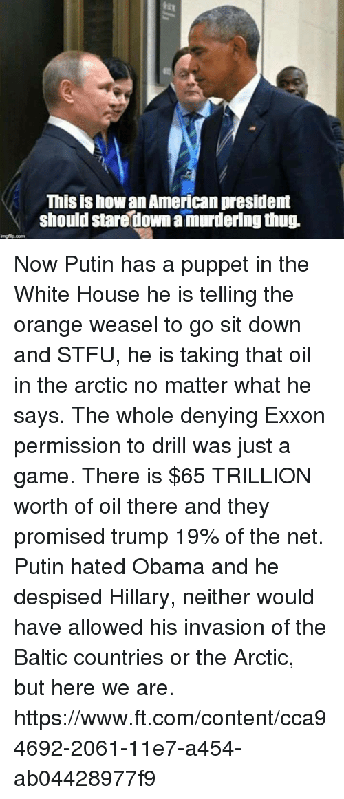 Obama, Stfu, and White House: This ishowan American president  should staredown a murderingthug Now Putin has a puppet in the White House he is telling the orange weasel to go sit down and STFU, he is taking that oil in the arctic no matter what he says.  The whole denying Exxon permission to drill was just a game.  There is $65 TRILLION worth of oil there and they promised trump 19% of the net.  Putin hated Obama and he despised Hillary, neither would have allowed his invasion of the Baltic countries or the Arctic, but here we are.  https://www.ft.com/content/cca94692-2061-11e7-a454-ab04428977f9