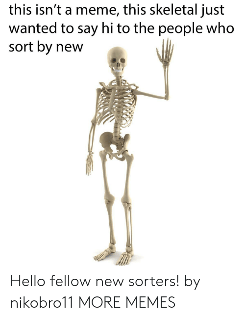 skeletal: this isn't a meme, this skeletal just  wanted to say hi to the people who  sort by new Hello fellow new sorters! by nikobro11 MORE MEMES