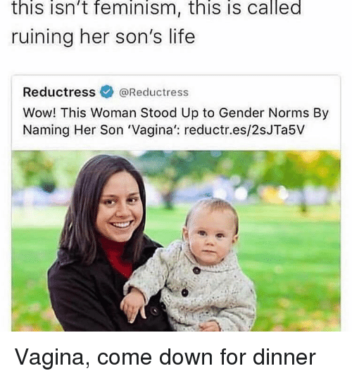 norms: this isn't feminism, this is called  ruining her son's life  Reductressネ@Reductress  Wow! This Woman Stood Up to Gender Norms By  Naming Her Son 'Vagina': reductr.es/2sJTa5V Vagina, come down for dinner