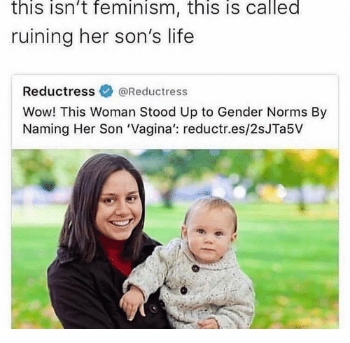 norms: this isn't feminism, this is called  ruining her son's life  Reductressネ@Reductress  Wow! This Woman Stood Up to Gender Norms By  Naming Her Son 'Vagina': reductr.es/2sJTa5V
