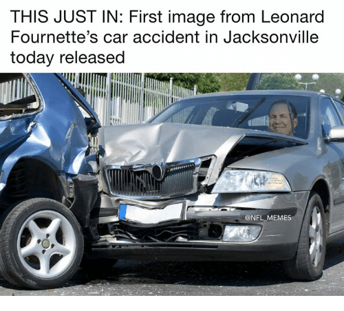 Memes, Nfl, and Image: THIS JUST IN: First image from Leonard  Fournette's car accident in Jacksonville  today released  @NFL MEMES