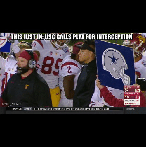 USC: THIS JUSTIN: USC CALLS PLAY FOR INTERCEPTION  25 USC  04  Wisconsin B3  10  2nd 6:37 30  @NFL MEMES  2nd & Goa  BOWLS  JAN, 1 ET ESPN2 and streaming live on WatchESPN and ESPN app