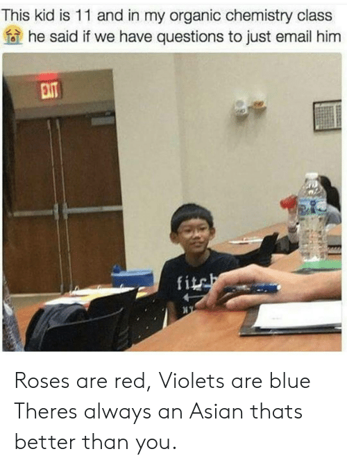 Fite: This kid is 11 and in my organic chemistry class  he said if we have questions to just email him  fite Roses are red, Violets are blue Theres always an Asian thats better than you.
