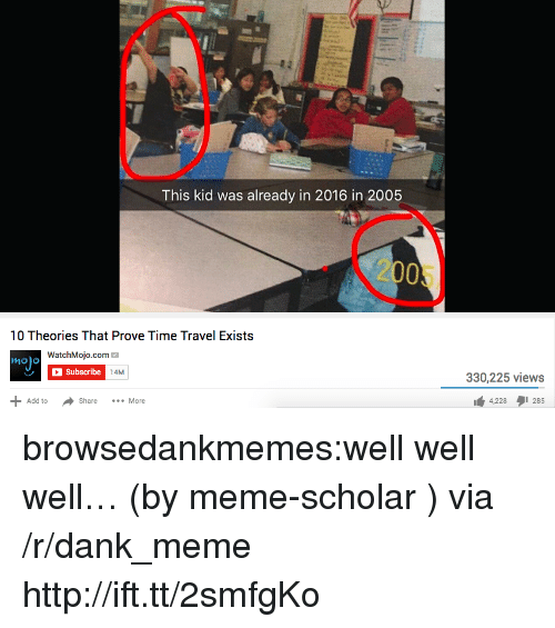 2016 In: This kid was already in 2016 in 2005  2005  10 Theories That Prove Time Travel Exists  WatchMojo.com  Subscribe  mo o  14M  330,225 views  Share More  4,228 285 browsedankmemes:well well well… (by meme-scholar ) via /r/dank_meme http://ift.tt/2smfgKo