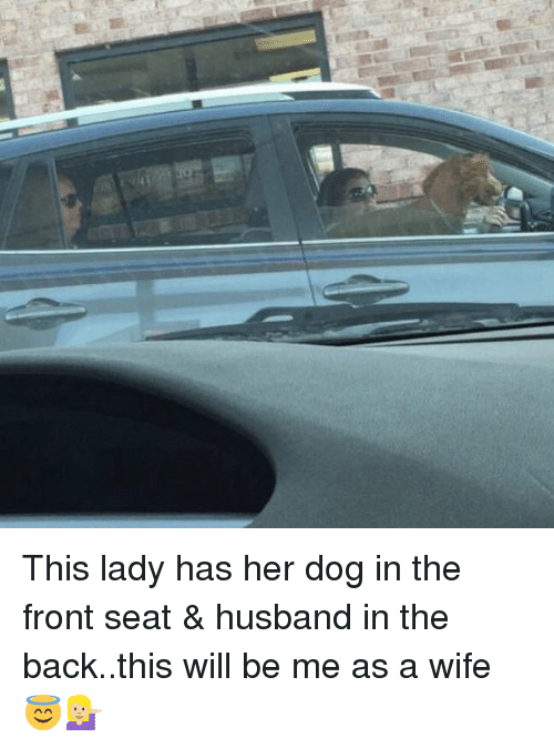 Girl Memes: This lady has her dog in the front seat & husband in the back..this will be me as a wife 😇💁🏼